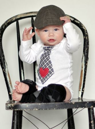 Valentine Gifts for the Baby:  Customizable Baby Boy Bodysuit Onsie with Tie and Legwarmer Set by Chic Couture Boutique @ Etsy