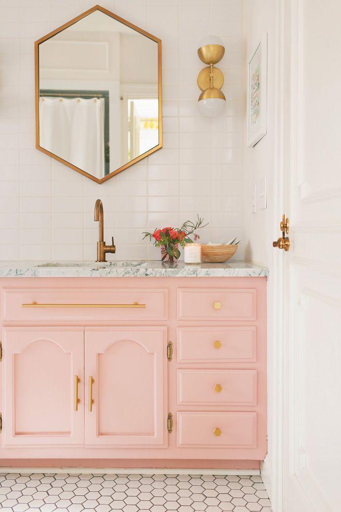 pink vanity for girls bathroom