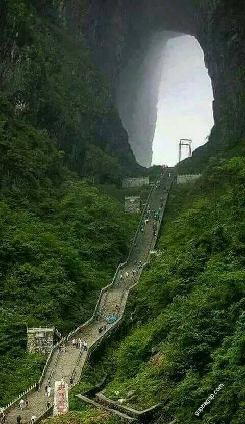 The Tianmen Mountain, or Heaven's gate in Zhangjiajie, China.
