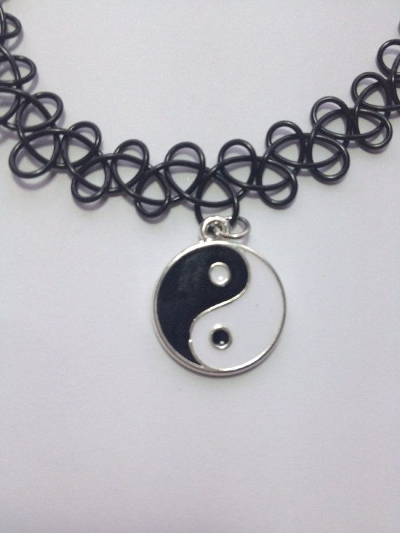 Yin Yang Black Tattoo Choker Necklace by SuburbanRiotz on Etsy, $7.00