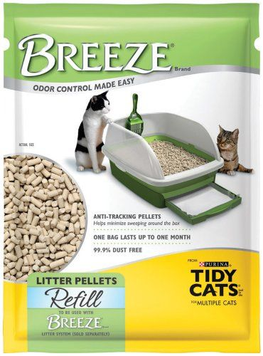 $47.94-$53.94 Tidy Cats Breeze Litter Pellet Refill, 3.5-Pound Packages (Pack of 6) - Breeze litter pellets are cat-friendly and non-tracking. Unlike traditional clay litter, Breeze uses specially designed litter pellets that are 99.9 percent dust free. Breeze litter pellets allow urine to pass through to an odor controlling unit. The urine is quickly absorbed leaving solid waste on top for quick ...