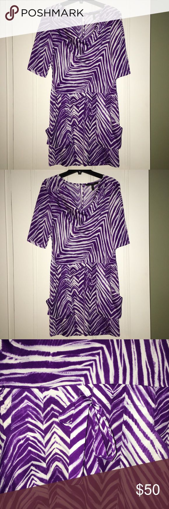 BCBG purple zebra print dress Flowing and light, this dress 👗 is flattering and functional. The waist has a tie option to make it more defined and the pockets on the skirt fall nicely on your legs.  The dress has a scoop neck and button closure on the back. I'm selling as I have too many dresses! I only wore it twice. It's in excellent condition. BCBGMaxAzria Dresses Mini