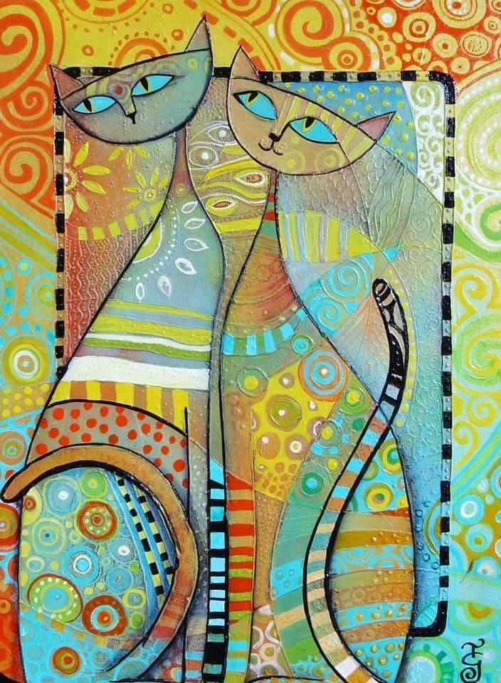 Картины абстракция коты
