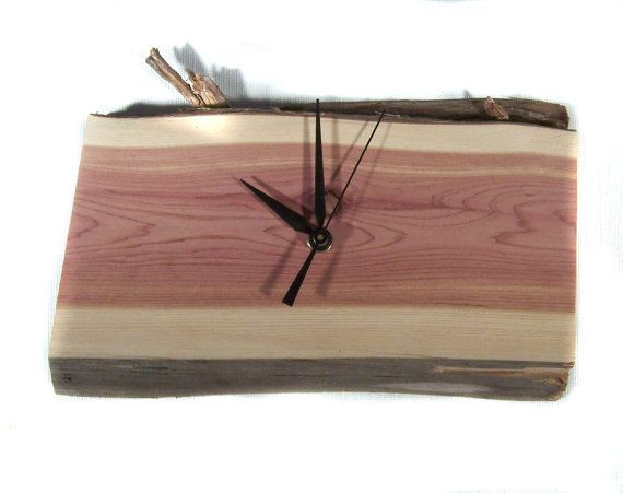 Wood Clock Small Cedar Wall Clock  Natural by MountainMiraclesUS