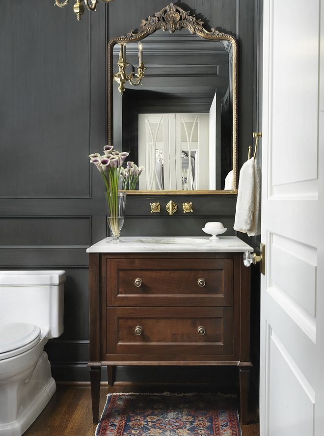 Powder Room This Chic And Classic Powder Room Features A Custom
