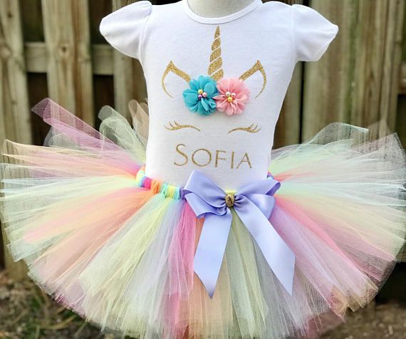 Baby girls  rainbow 1st 2nd or 3rd birthday unicorn outfit tutu dress glitter  rainbow unicorn cake smash