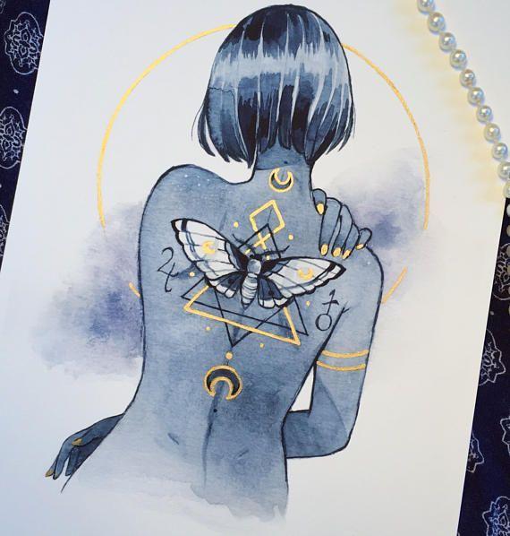 A5 imprimé avec des détails dorés de moi! Il brille magnifiquement sous la lumière …   – Aquarell Malen
