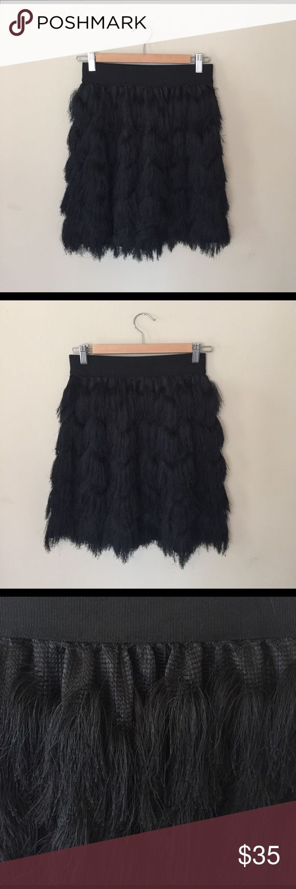 Banana Republic fringed skirt Adorable black fringes skirt from Banana Republic. Worn once to an engagement party. Banana Republic Skirts