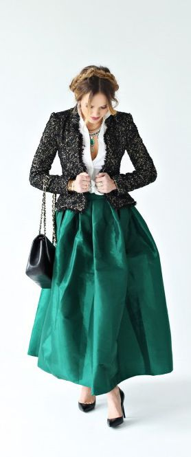 green maxi skirt for your holiday party