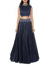 blue Raw Silk Lehenga - Online Shopping for lehengas