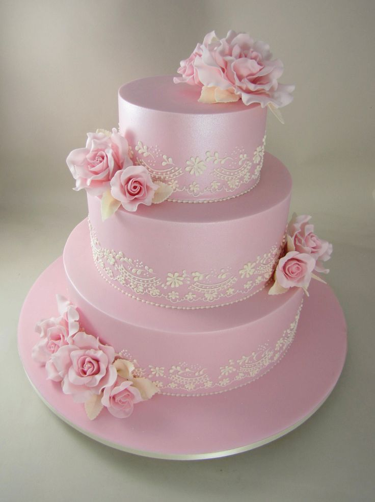 3 T Pink Elegance (Pearl Piping & Roses) Planet Cake, just gorgeous