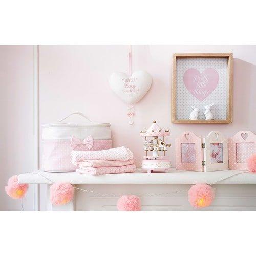 guirlande lumineuse 9 led pompons roses l214 bebe. Black Bedroom Furniture Sets. Home Design Ideas