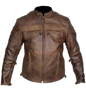 Mens Cafe Racer Brown Leather Motorcycle Jacket