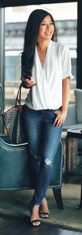 #spring #business #outfitideas |  White Drape Blouse + Jeans