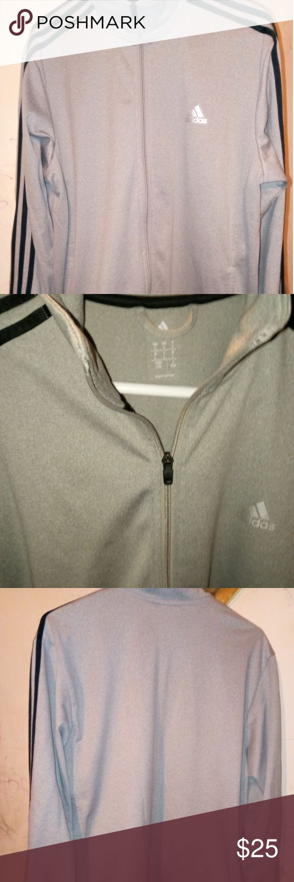 CLEAN! Adidas track jacket men's large Adidas track jacket men's large classic 3 stripe light gray with black stripes. Full front zip-up works perfect. This jacket looks new washed only twice, no stains, holes or tears adidas Jackets & Coats Performance Jackets