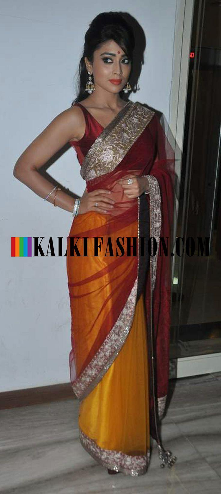 http://www.kalkifashion.com/ Shriya Saran in Half and half Manish Malhotra saree at Kids function award
