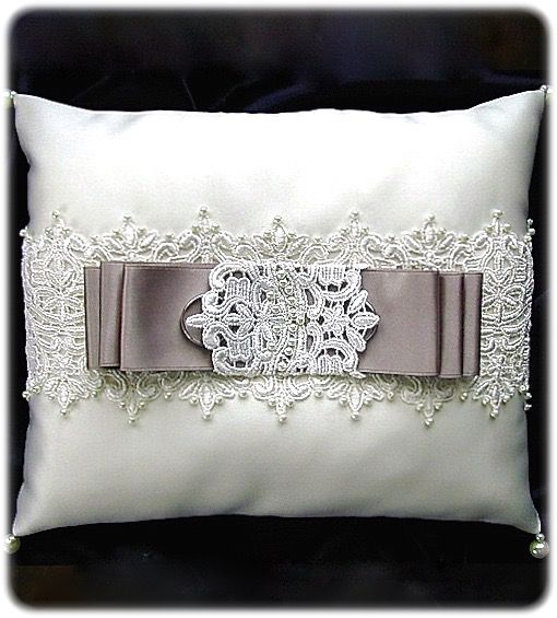 ateliersarah's ring pillow/chemical lace and gray ribbon