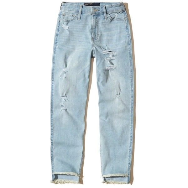 Hollister High-Rise Slim Boyfriend Jeans ($25) ❤ liked on Polyvore featuring jeans, pants, hollister, ripped light wash, high rise boyfriend jeans, ripped jeans, distressed jeans, destroyed boyfriend jeans and blue jeans