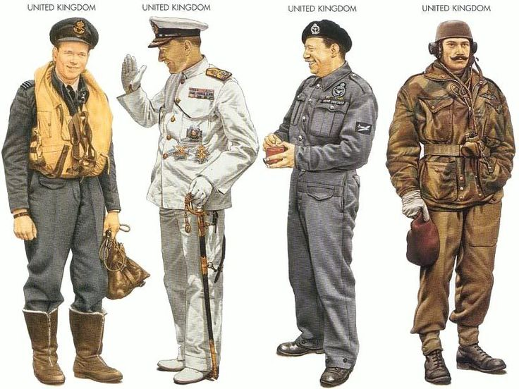 World War II Uniforms -United Kingdom – 1942 May, England, Wing Commander, No. 617 Squdron, RAF United Kingdom – 1943 Sep, Cairo, Admiral, Mediterranean Fleet United Kingdom – 1944 June, Kent, Head Officer, Royal Observer Corps United Kingdom – 1944 June, Normandy, Lieutenant, 1st Glider Pilot Regiment