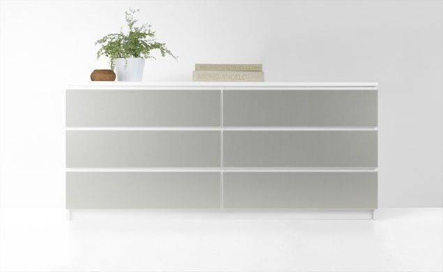 """Door fronts for some Ikea pieces in different colors, woodgrains, and specialty finishes like this one in """"Brushed Aluminum."""""""