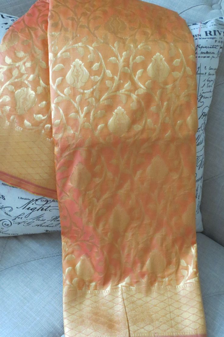 Kanchi Purim silk sari in mustard color by ZainabBoutique on Etsy