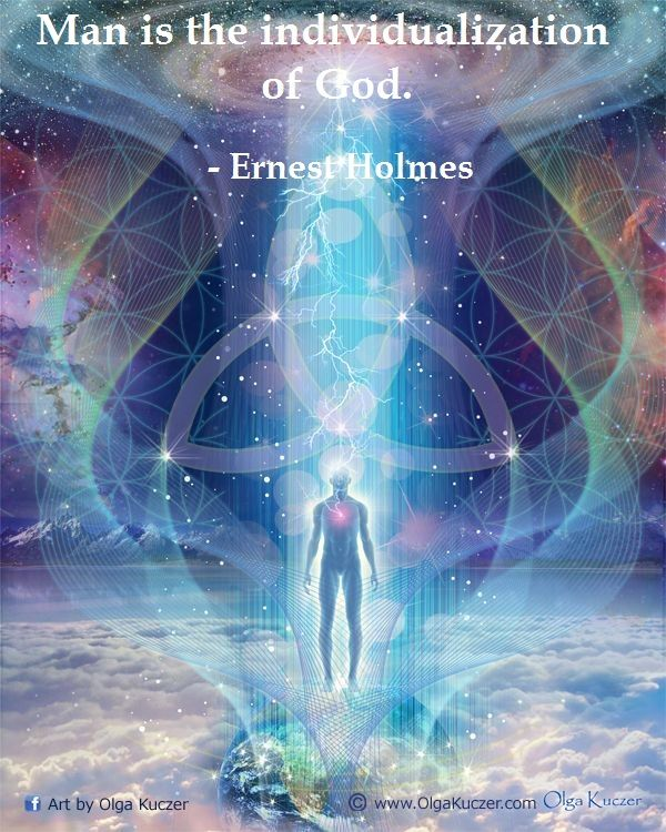 new thought   divinity of man   metaphysical quote   Ernest Holmes   art work without quote by Olga Kuczer
