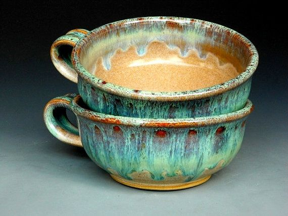 Pair of French Onion Soup Mugs Ceramic Bowls by darshanpottery, $46.00