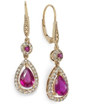14k Rose Gold Earrings, Ruby (1-3/4 ct. t.w.) and Diamond (1/3 ct. t.w.) Pear Drop Earrings