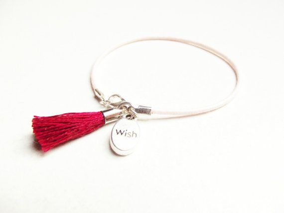 Light Pink Waxcord Tassel Bracelet  If I Could Have One Wish by SpringToFall, €5.95