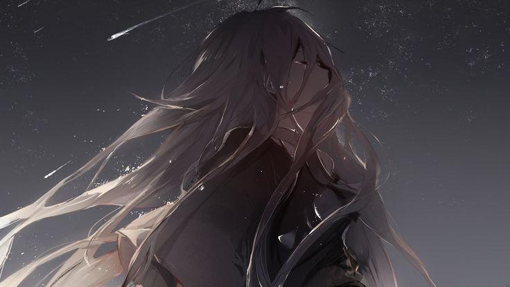 Аниме 1920x1080 Vocaloid IA (Вокалоид) аниме девушки длинные волосы седые волосы закрытыми глазами слез плачет небо ночь колье звезды