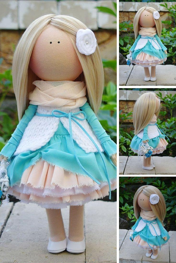 Art doll handmade blue turquoise blonde Tilda doll Gift doll Fabric doll Soft Decor doll Cloth doll