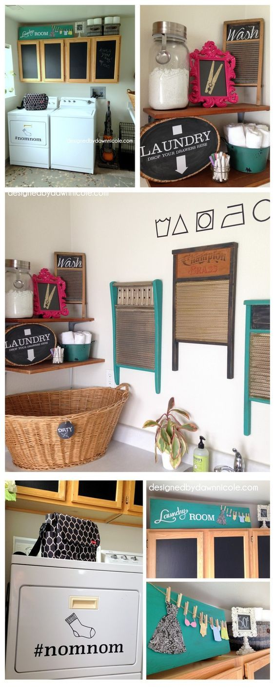 How I Made over my Whole Laundry Room for Less than $20 (with free Silhouette Cut File for dryer #nomnom design and Care Symbols!)