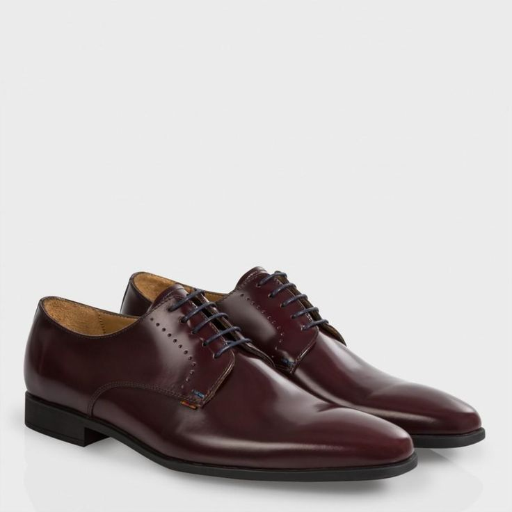 Men's bordeaux 'Moore' Derby shoes with perforated lace detailing and  'Vintage Stripe' binding detail.
