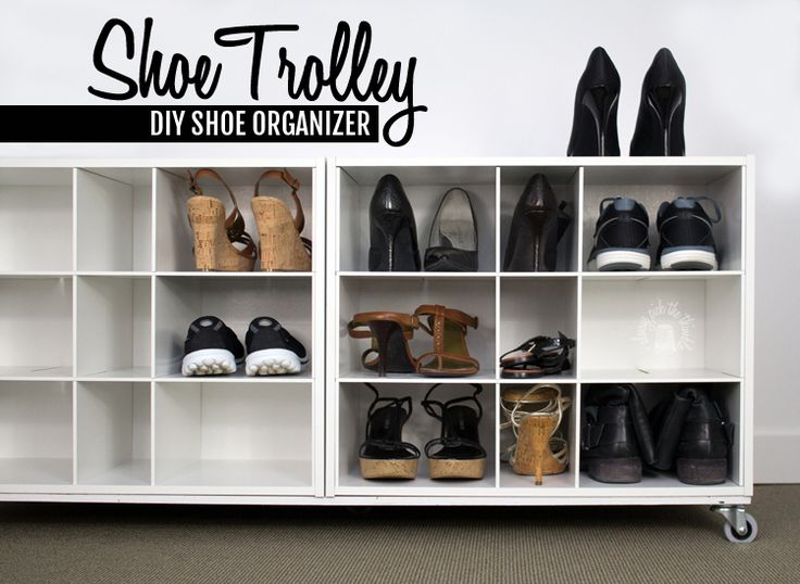 double your shoe storage by making this shoe trolley shoe organizer full howto showing how to attach 4 cubbies together and add a base with wheels