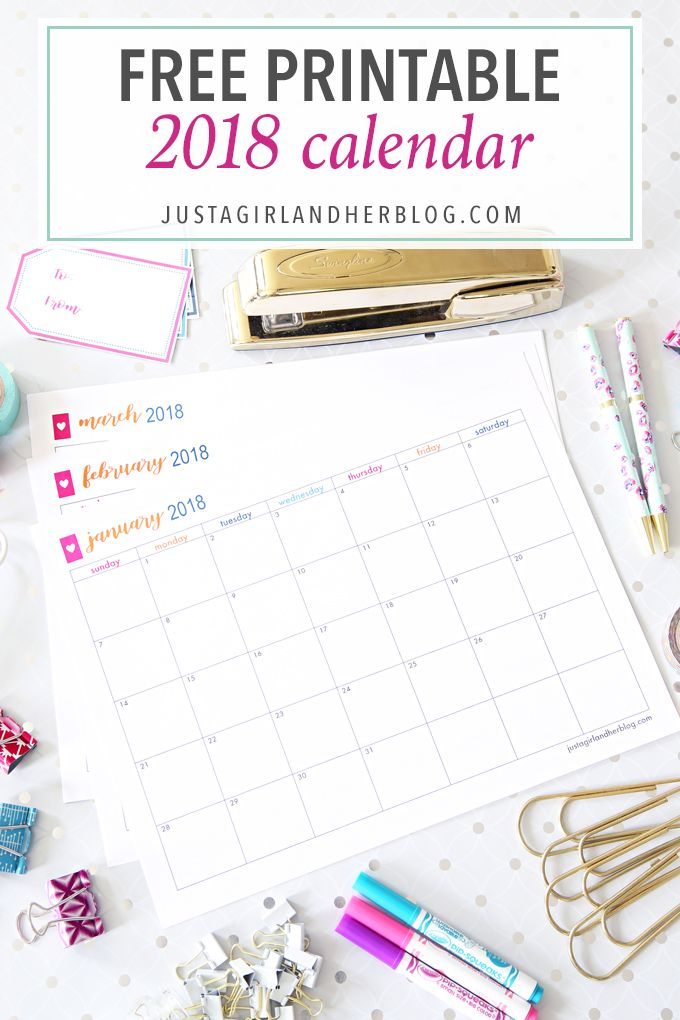 This free printable 2018 calendar is a helpful organizational tool that can help you keep track of your schedule, birthdays, goals, routines and more!