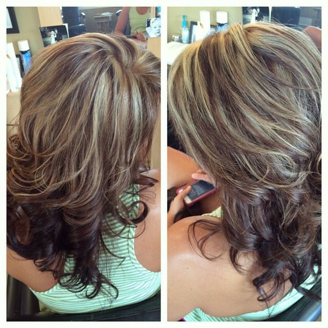 Chocolate Brown Lowlights White Blonde Highlights Hair