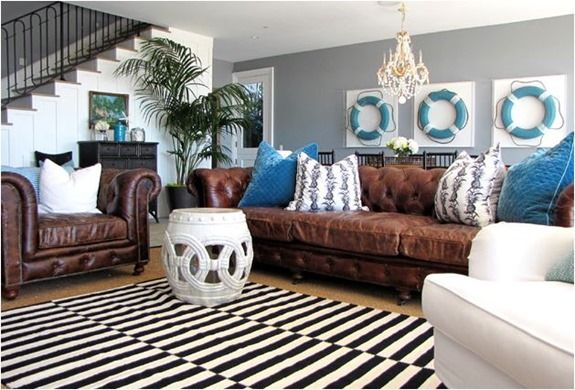 Lightening a room that has dark leather couches. More pics at link.