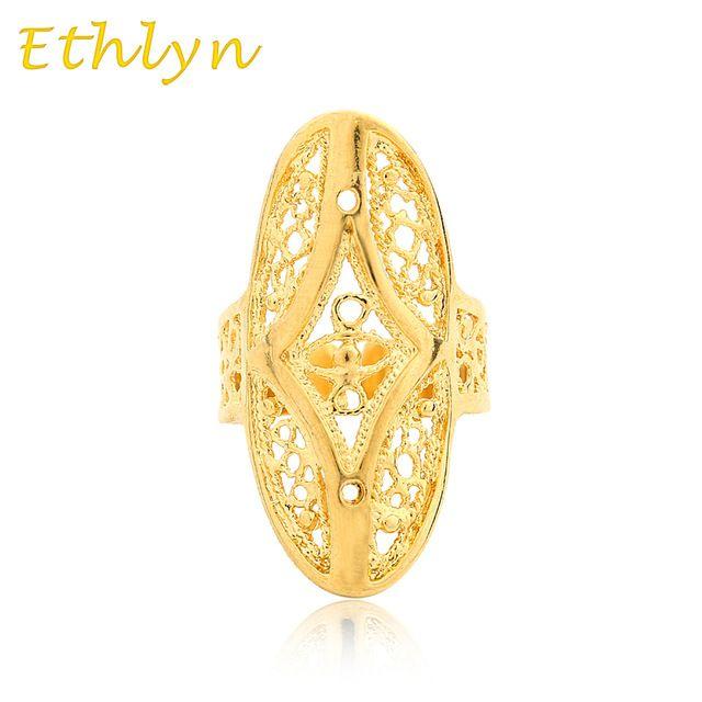 Ethlyn Etíope de casamento anel 18 k real banhado a ouro anel de tamanho livre para Árabe/Africano/Oriente médio Item mulheres meninas presente R028