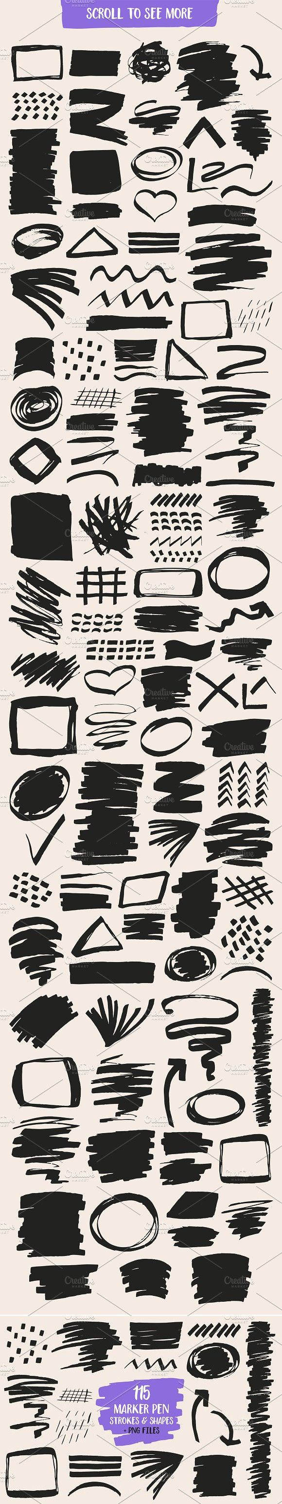 Marker Pen Strokes And Shapes Marker Pen Markers Shapes