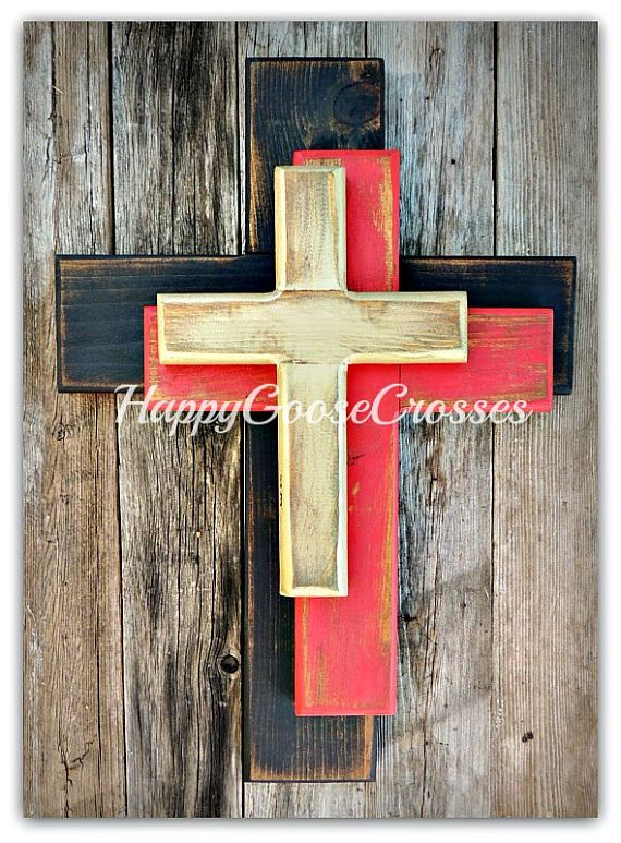 Wall Cross  Wood Cross  Small  OFFSET Crosses in Rustic
