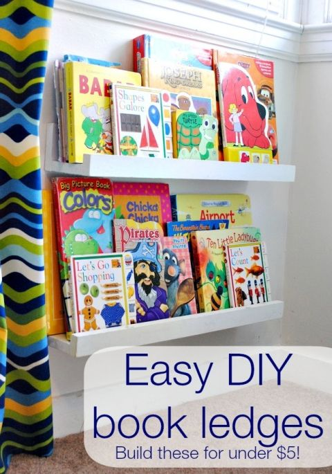 DIY book ledges- 1 – 1×2 piece of wood cut to your desired length. Mine was 24″ (this is your front piece) 2 – 1×4 wood boards also cut to your desired length.
