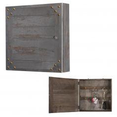 Schlüsselkasten Virginia, Schlüsselschrank Holzbox, Shabby-Look Vintage 27x27x6cm ~ dunkelgrau