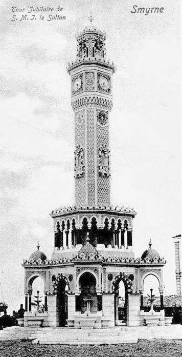 Takribi olarak 1890 - 1900 arasında İzmir, Konak saat kulesine ait bir görünüm... (Smyrne, tour jubilaire de s. m. j. le sultan)