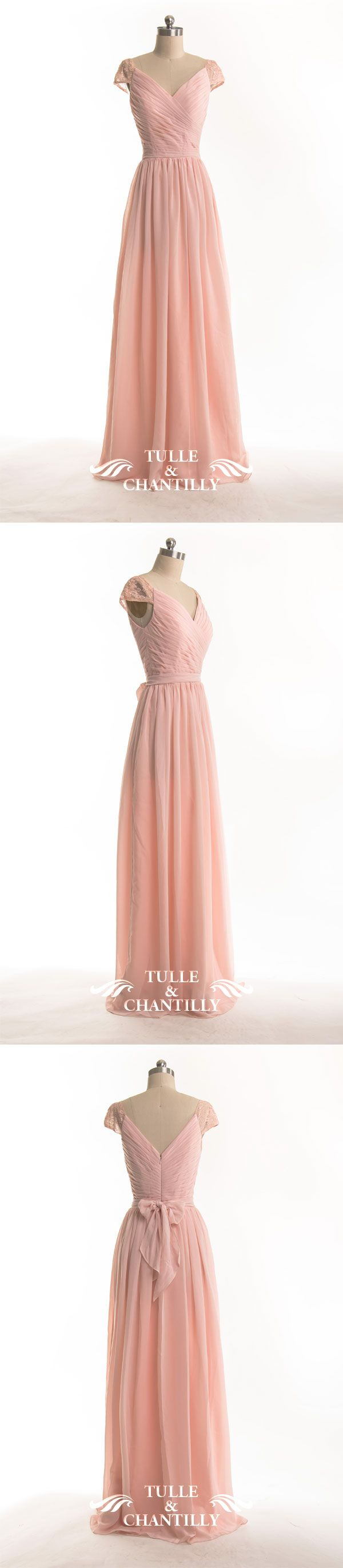 pink bridesmaid dresses with lace cap sleeves