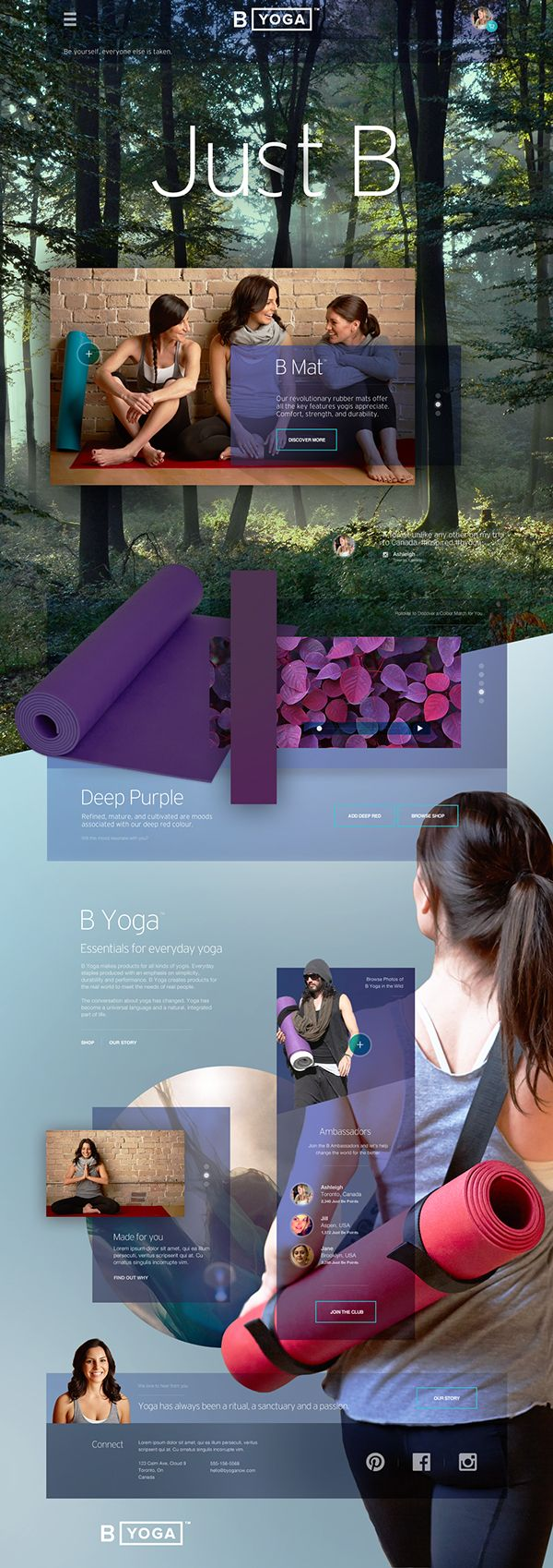B Yoga Website. Website design layout. Inspirational UX/UI design samples.  Visit us at: www.sodapopmedia.com #WebDesign #UX #UI #WebPageLayout #DigitalDesign #Web #Website #Design #Layout