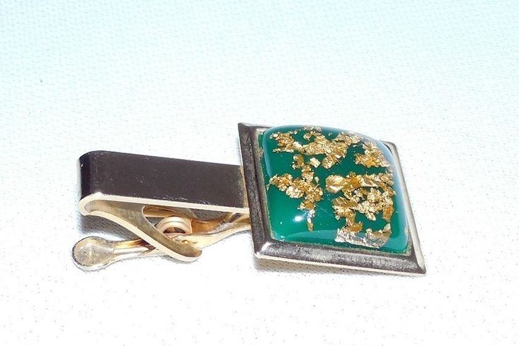 Vintage Gold-Tone Square Domed Men's Tie Clasp W/Gold Flakes/Green Background  #Unknown #TieBarClipClasp
