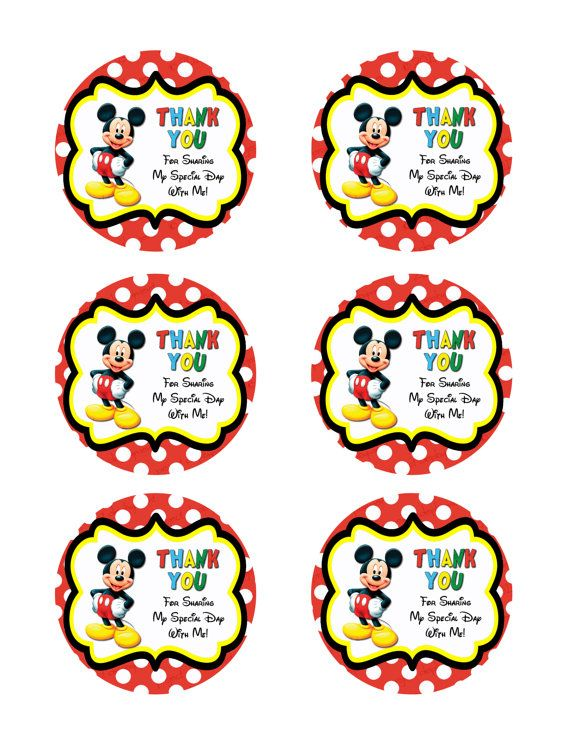 INSTANT DOWNLOAD Mickey Mouse Thank You by IrrelephantDesigns