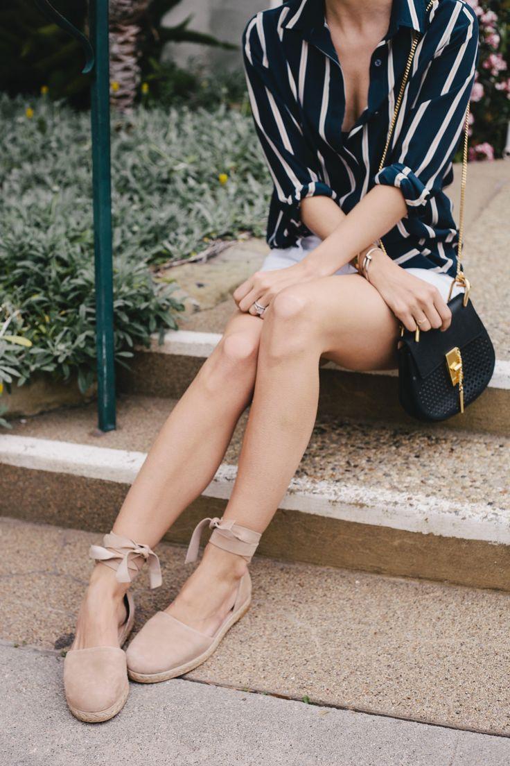 Stuart Weitzman Cousin Suede Espadrille Flat beach (nude beige) {$365} // Chloe Drew Perforated Bag {$1,990} // Frame Denim Le Boyfriend Striped Top {$255} // Old Navy White Denim Shorts {$20} | Damsel in Dior