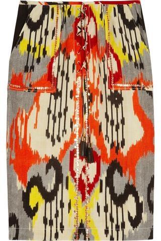 Altuzarra   Tiger Ikat-print silk pencil skirt