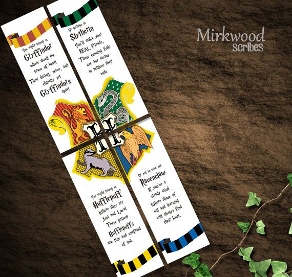 Harry Potter Bookmarks Hogwarts Houses Bookmarks Party